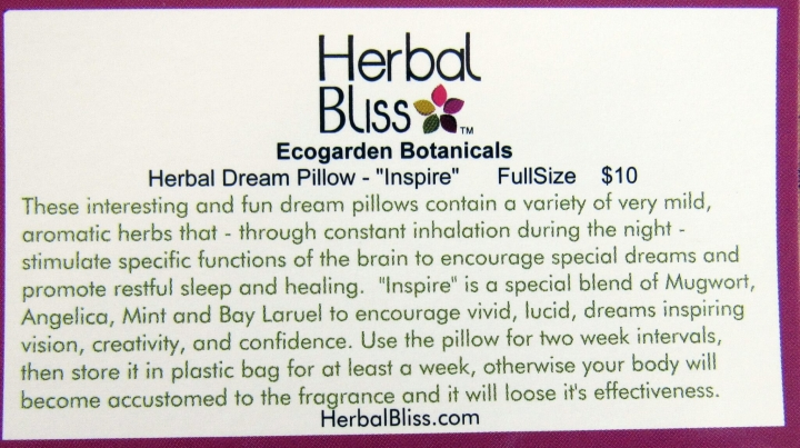 "Ecogard4en Botanicals Herbal Dream Pillow ""Inspire"""