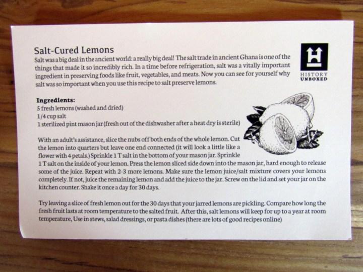 Enrichment Item #2 Salt Cured Lemons Recipe