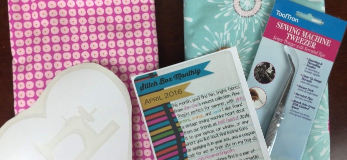 Stitch Box Monthly April 2016 Subscription Box Review