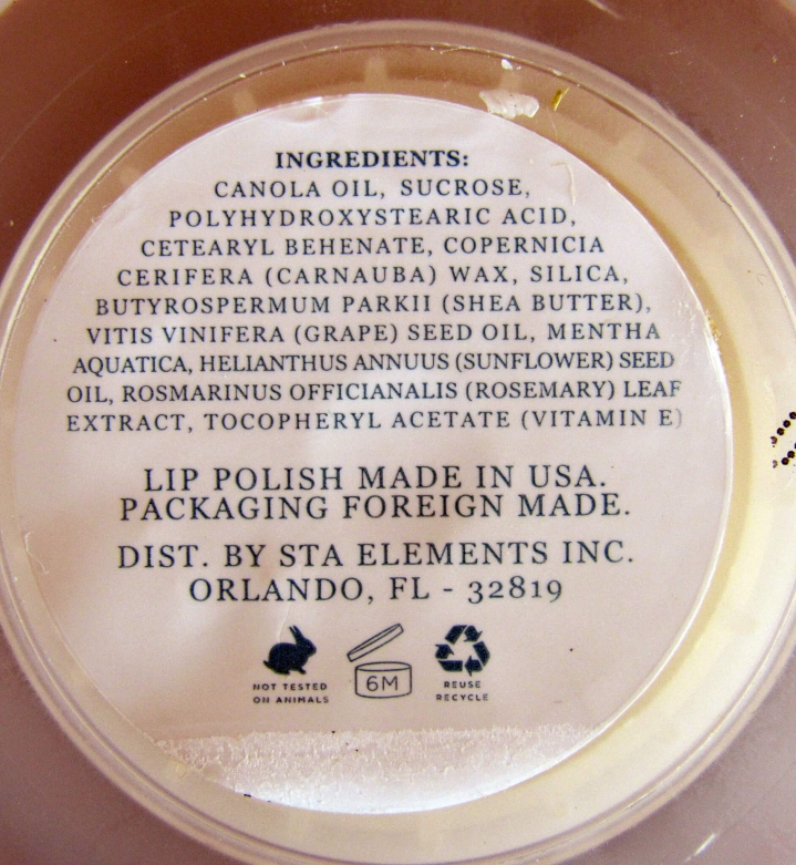 List of Ingredients on Container