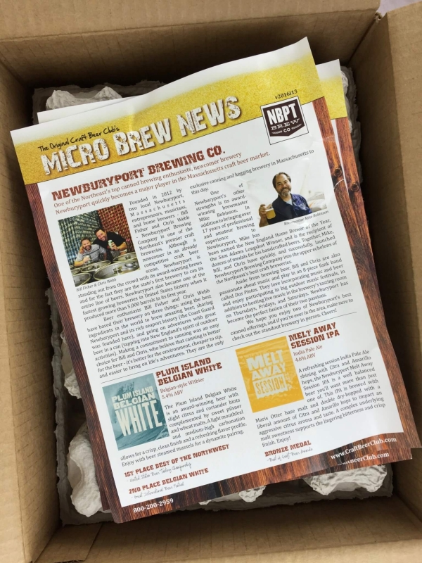 Craft Beer Club July 2016 box