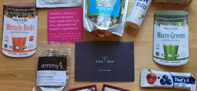 Raw Box July 2016 Subscription Box Review + Coupon