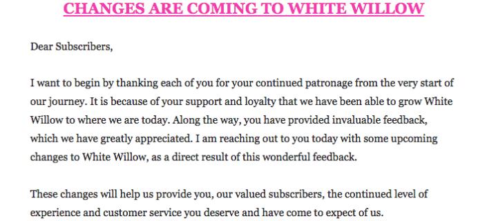 White Willow Box News: Switching to Bimonthly!