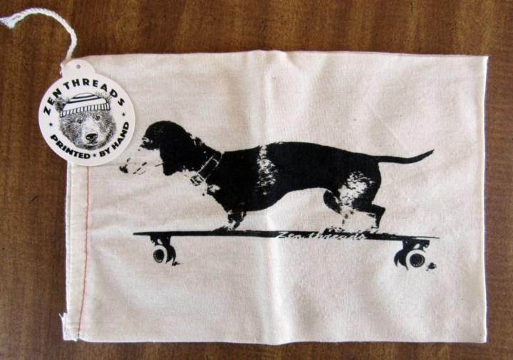 Longboard Daschund - Hand Printed Drawstring Resuable Cotton Bag