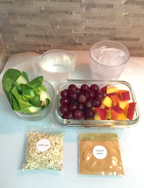 Ingredients for Bok Choy and Peach Energy smoothie
