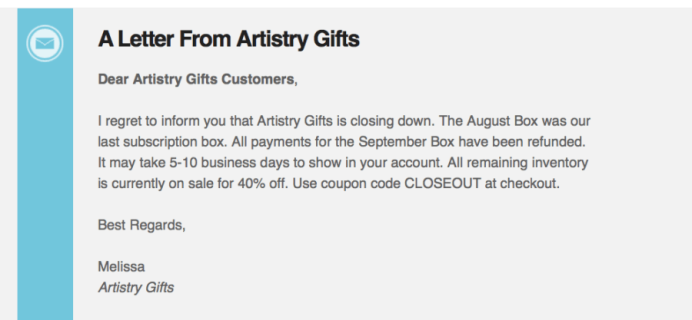 Artistry Gifts Closing Down + Closeout Sale