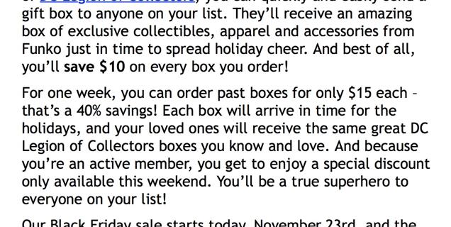 DC Legion of Collectors Cyber Monday Sale!