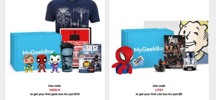 My Geek Box Black Friday Subscription Sale: My Geek Box Lite for $3 + Regular Box $10!