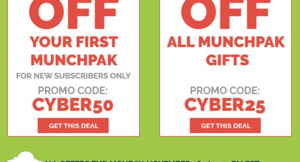 MunchPak Cyber Monday Coupon: 50% Off First Box!
