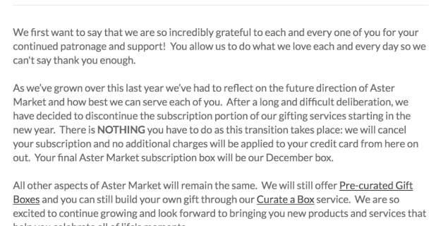 Aster Market Shuts Down Subscription Service