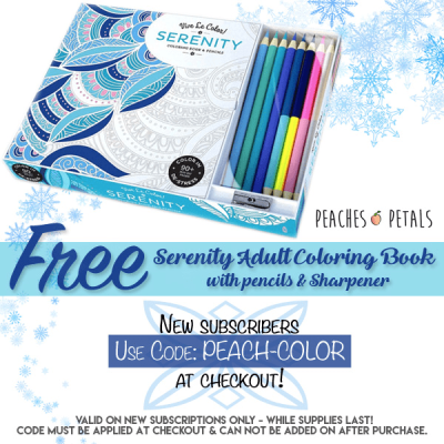 New Peaches & Petals Coupon – Free Adult Coloring Book With First Box!
