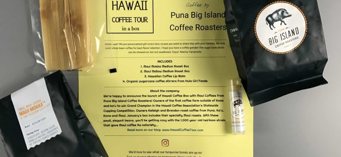Hawaii Coffee Tour [In A Box] January 2017 Subscription Box Review