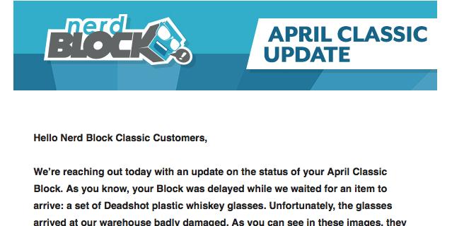 Nerd Block April 2017 Classic Block Shipping News