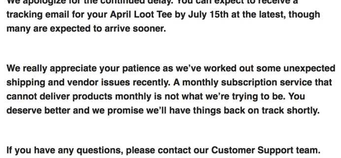 Loot Wear April 2017 Loot Tee + Loot for Her Shipping Delay UPDATE