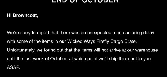Firefly Cargo Crate September 2017 Delay
