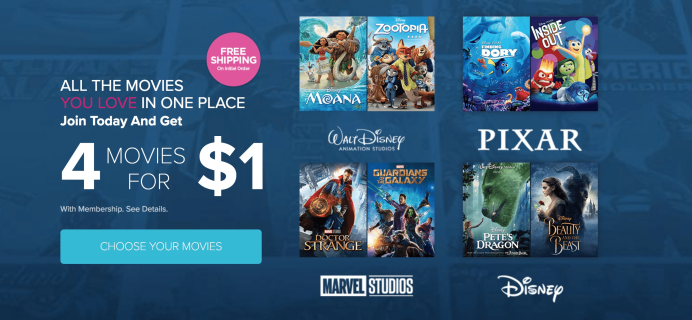 Disney Movie Club Offer: Get 4 Movies For Only $1!
