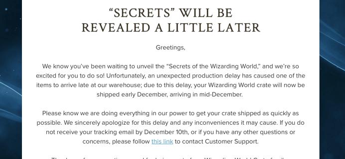 Wizarding World Harry Potter Subscription November 2017 Box Delay