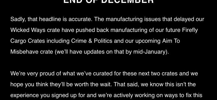 Firefly Cargo Crate November 2017 Delay