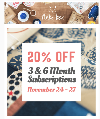 Neko Box Cyber Monday Coupon: 20% Off 3+ Month Subscriptions!