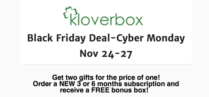 Kloverbox 2017 Cyber Monday Deal Details: Get a FREE Bonus Box!  Available NOW!