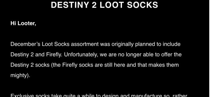 Loot Wear December 2017 Loot Socks Refund Info – Franchise Change