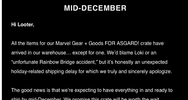 Loot Crate Marvel Gear + Goods November 2017 Shipping Delay