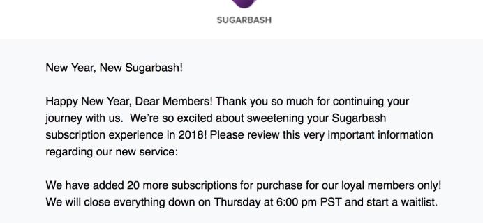 SugarBash Subscription Updates