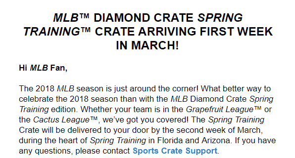 Sports Crate: MLB Edition January 2018 Shipping Update!