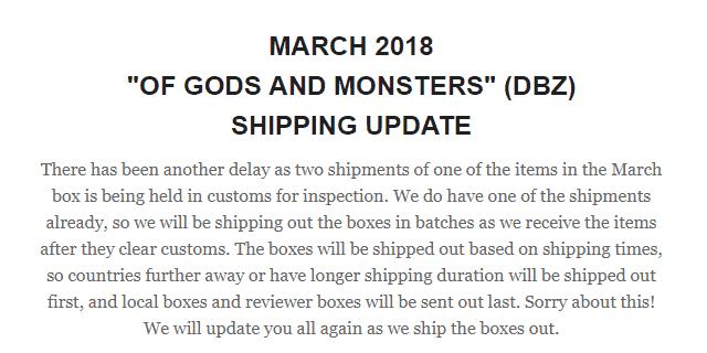 Lootaku March 2018 Shipping Update!