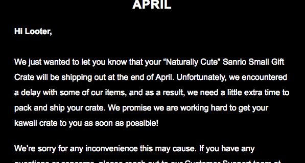 Sanrio Small Gift Crate Spring 2018 Shipping Delay