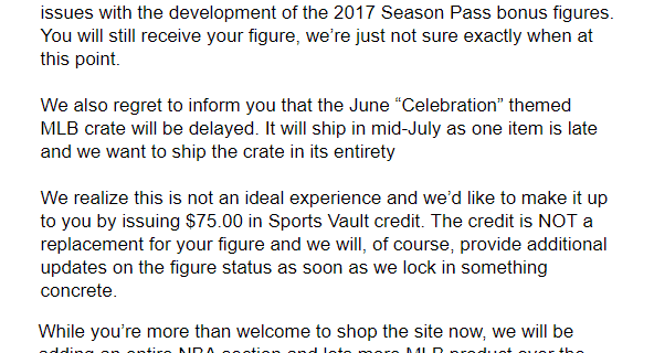 Sports Crate: MLB Edition Bonus Figure & June 2018 Shipping Update!