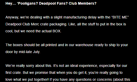 Deadpool Club Merc Shipping Update