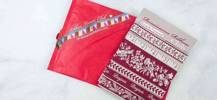 Renaissance Ribbons Ribbon Lovers' Club July 2018 Subscription Box Review + Coupon
