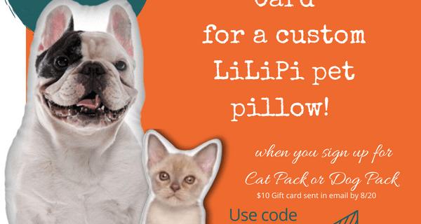 Pet Treater Dog Pack & Cat Pack Coupon: $10 Gift Card for Custom Pet Pillow!
