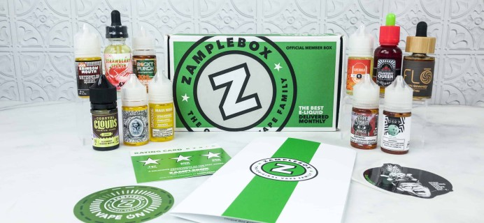 Zamplebox E-Juice August 2018 Subscription Box Review + Coupon!