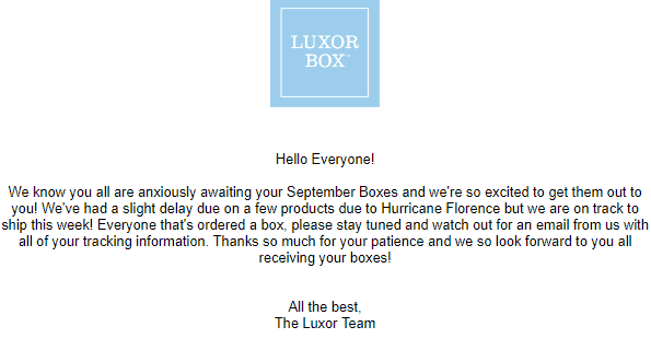Luxor Box September 2018 Shipping Update
