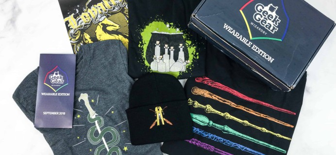 Geek Gear World of Wizardry Wearables September 2018 Subscription Box Review + Coupon