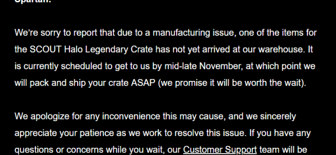 October 2018 Loot Crate Halo Legendary Crate Shipping Update
