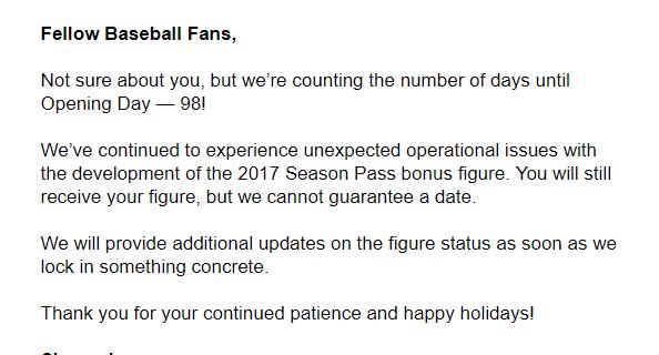 Sports Crate: MLB Edition Bonus Figure Shipping Update!