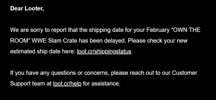 WWE Slam Crate February 2019 Shipping Update