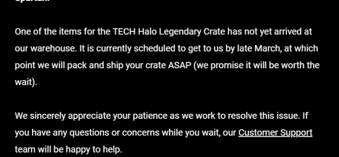 February 2019 Loot Crate Halo Legendary Crate Shipping Update