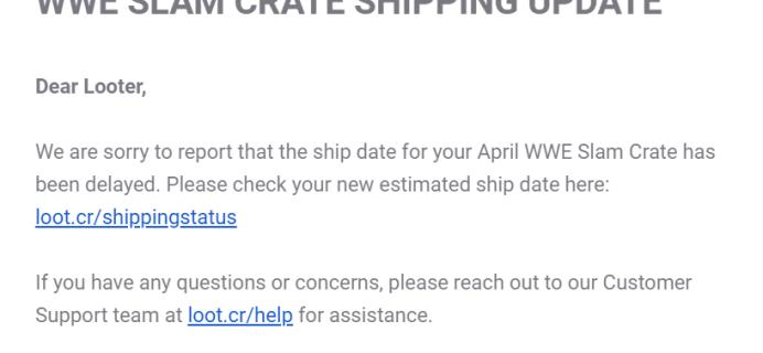 WWE Slam Crate April 2019 Shipping Update