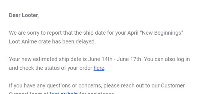 Loot Anime April 2019 Shipping Update #2