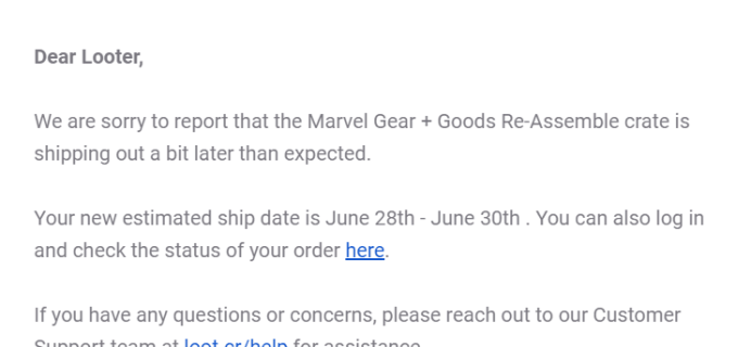 Loot Crate Marvel Gear + Goods March 2019 + May 2019 Shipping Update