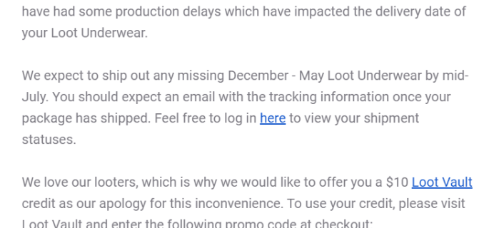 Loot Undies January – July 2019 Shipping Update!