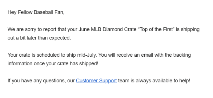 Sports Crate: MLB Edition June 2019 Shipping Update!