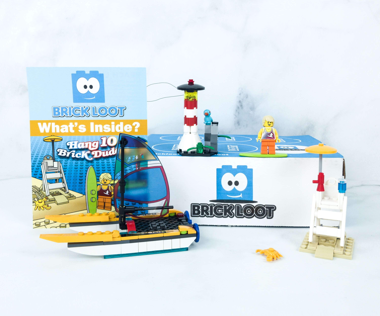 and more Summer Sailing Surfer Custom LEGO Kit Brick Loot Box Hang 10 Brick Dudes Brick Loot Exclusive build Custom LEGO Minifigure