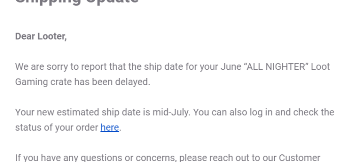 June 2019 Loot Gaming Shipping Update