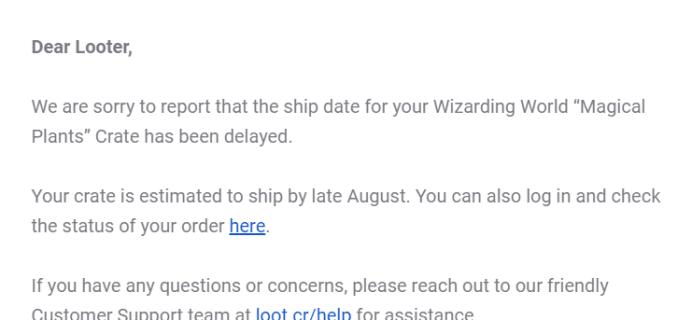 Wizarding World July 2019 Shipping Update