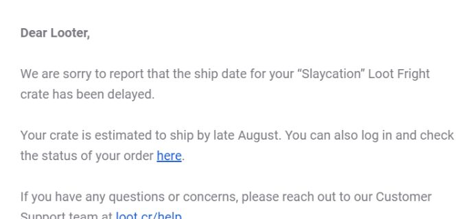 Loot Fright July 2019 Shipping Update+ Coupon!